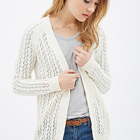 Ribbed Open-Knit Cardigan