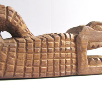 Hand Carved Crocodile Alligator Folk Art Sculpture Cancun Mexico