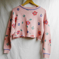 Floral cropped sweater by MeiLai on Etsy
