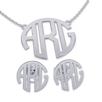 Necklace and Earring sets Silver Monogram Necklace Monogram Name Jewelry, bridesmaid earrings, bridesmaid necklace