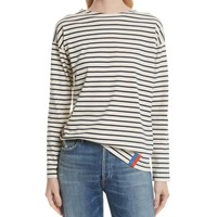 Kule Boyfriend Cream and Navy Stripe Top