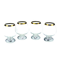 Mini Brandy Snifters, Paperweight Base, Gold Rims