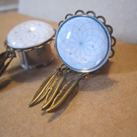 "Dreamcatcher Plugs w/ Feather Charms - Handmade Girly Gauges - 6g, 4g, 2g, 0g, 00g, 7/16"", 1/2"", 9/16"", 5/8"", 3/4"""