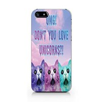 "Cute Cat ""Omg, Don't You Love Unicorns?"" Plastic Phone Case for Iphone 5 5s"