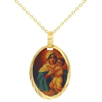 """18k Gold Plated Virgin Mary Mother of God Painting Oval Medal Pendant Chain 19"""""""