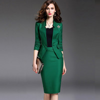 Costumes for Women with a Skirt Suit Single Button Formal Office Uniform Designs Womens Business Suits With Blazer 2 Piece Set