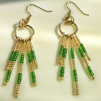 Emerald Green and Gold Seed Bead Chandelier Earrings - Seed Bead Hoop Earrings - Gold/Emerald Green Earrings