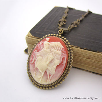 Cameo Necklace - Cream White Lady Charioteer Goddess - Carnelian Red - Victorian Brass - Neoclassical Grecian Pendant