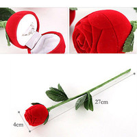 Red Rose Jewelry Box Wedding Ring Gift Case Earrings Storage Display Holder