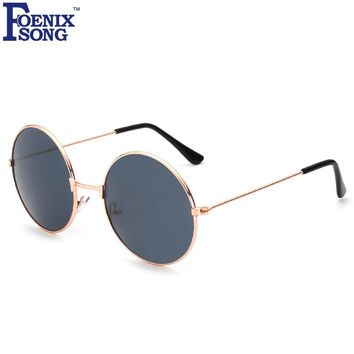 FOENIXSONG Brand Vintage Round Mirror Sunglasses Women Men Gold Frame Sun Glasses Women's Men's Retro Eyeglasses Oculos De Sol