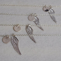 Bridesmaid jewelry, bridesmaid necklace, Personalized necklace, 4 Wedding party gifts, Angel wing pendant, statement initial Lariat Gift