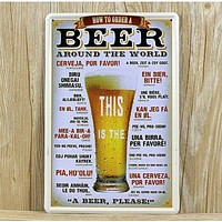 """""""HOW TO ORDER Around the World"""" Vintage Metal Sign"""