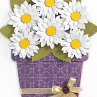 Flower Pot Card - Any Occasion card - White Daisy Flower pot card - Text Options- Thank you card- Love you card- Birthday card, For you