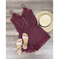 POL BSIC - Vintage Acid Wash Romper in Burgundy