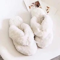 UGG Popular Casual Slippers For Women Fashion Pure Color Wool Hermitage Sandals
