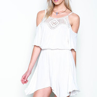 WHITE OFF SHOULDER CROCHET SWING ROMPER