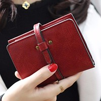2017 New Fashion Matte PU Leather Wallet Women Vintage short Cion Purse women Wallets Female High quality Card Holder feminina