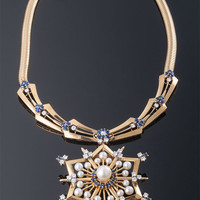 1940's Sapphire and Diamond, Pearl Necklace with Snowflake Motif Pin/Pendant Attachement