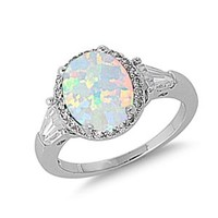 Sterling Silver 12mm White Simulated Opal CZ Engagement -Size: 5