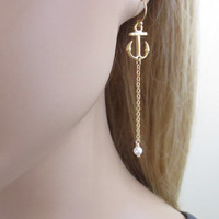 Anchor, Earrings, Anchor, Drop, Earrings, Anchor, Pearl, Earrings, Anchor, Beach, Nautical, Dangle, Cute, Gift, Jewelry