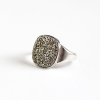 Vintage Sterling Silver Druzy Ring -  Retro 1960s Statement Glittering Sparkly Pyrite Mineral Crystal Cluster Rock Stone Mens Unique Jewelry