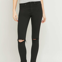 BDG Breeze Mid-Rise Ripped Black Skinny Jeans - Urban Outfitters