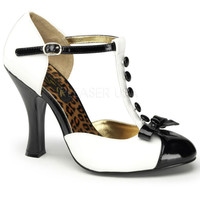 Pinup Couture Black and White T-Strap Smitten Pumps