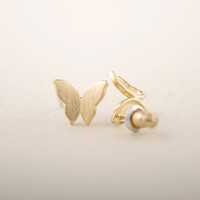 tiny Chic Butterfly earrings in gold or silver, simple, everyday, stud earrings