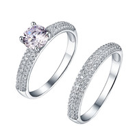 Round Cut Solitaire Ring Wedding Engagement Sterling Silver
