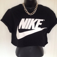 unisex customised nike crop top t shirt top grunge festival fashion