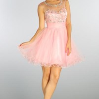 Short Tulle Prom Dress with Sheer Sleeve in Pink