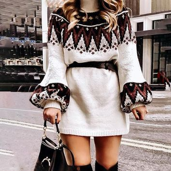 Geometric print women knitted dress Casual turtle neck pullover female sweater dress retro white vestidos