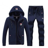 FILA autumn and winter models plus velvet men's sports cardigan set two-piece blue