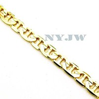 "NEW MEN'S 5mm, 8"" 14k YELLOW GOLD PT MARINER BRACELET"