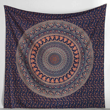 Large Mandala Indian Hippie Wall hanging Tapestry Blue Indian Elephant Tapestries
