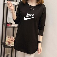 """Nike"" Women Casual Simple Letter Print Long Sleeve T-shirt Irregular Middle Long Section Bottoming Tops"