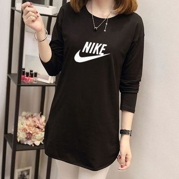 """""""Nike"""" Women Casual Simple Letter Print Long Sleeve T-shirt Irregular Middle Long Section Bottoming Tops"""