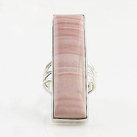 Pink Opal Sterling Silver Oblong Ring