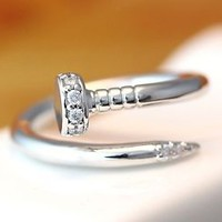 Tiny Crystals Head Nail Ring Adjustable Open Ring Unique Funny Ring gift idea