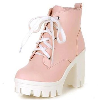 New women's ankle boots lace up high heels for winter