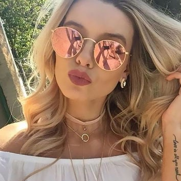 Classic Vintage Round Mirror Brand Designer Sunglasses Metal Lady Circle Retro UV400 Women Or Men Sun Glasses Rays Victory