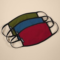 Army Green, Yale Blue, Carmine Red Earloop Face Masks - 3 Pack