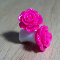 Buy 2 Pairs/Get 3rd FREE! Bright Pink Pastel Small Flower Rose Plugs/Gauges 10G 8G 6G 4G 2G 0G 00G 1/2 9/16