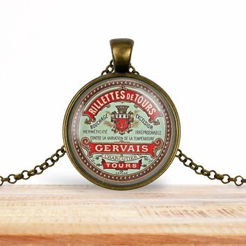 Vintage product label photo pendant - Rilletts de tours Gervais - French label- foodie necklace, francophile necklace