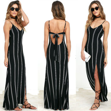 Black Striped Thin Strapy Maxi Dress