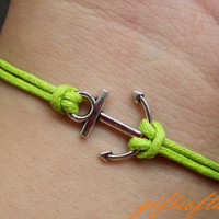 Anchor Bracelet-- Cute Silver Anchor Bracelet, Green Wax Cords Braclet, Best Gift for Friend---C225