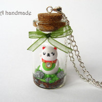 Cute maneki neko terrarium necklace