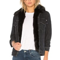 MOTHER The Furry Faux Fur Drifter Jacket in Black Cat Fever | REVOLVE