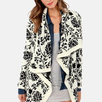 Take Leaf Black and Ivory Floral Print Cardigan Sweater