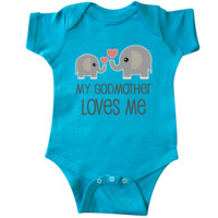 My Godmother Loves Me Infant Creeper Turquoise $16.99 www.personalizedfamilytshirts.com